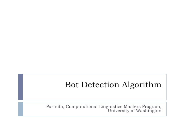 Bot detection algorithm