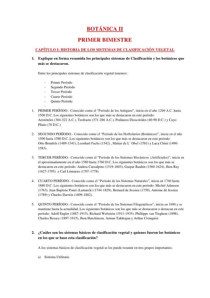 BOTÁNICA II                                  PRIMER BIMESTRE     CAPÍTULO I: HISTORIA DE LOS SISTEMAS DE CLASIFICACIÓN VEG...