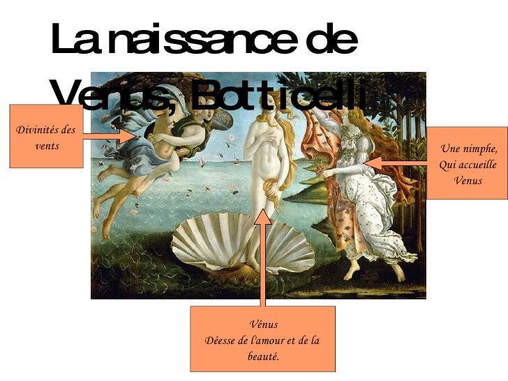 La naissance de Venus, Botticelli Une nimphe, Qui accueille Venus Vénus Déesse de l'amour et de la  beauté. Divinités des ...