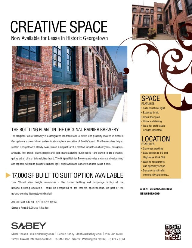 CREATIVE SPACE  Now Available for Lease in Historic Georgetown  SPACE FEATURES  • Lots of natural light • Exposed brick • ...
