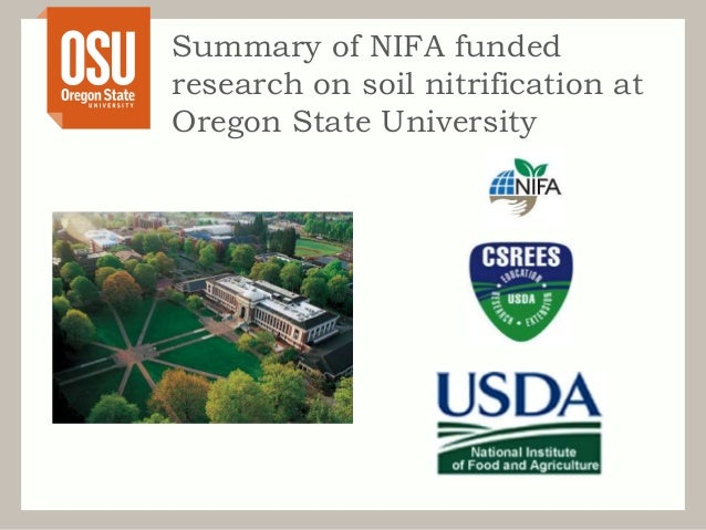 Summary of nifa funded research on soil nitrification at for Soil 205 oregon state