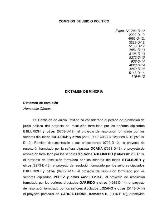 COMISION DE JUICIO POLITICO Expte. Nº: 703-D-12 2292-D-12 4063-D-12; 3228-D-12 5138-D-12 7951-D-13 8128-D-13 8273-D-13 936...