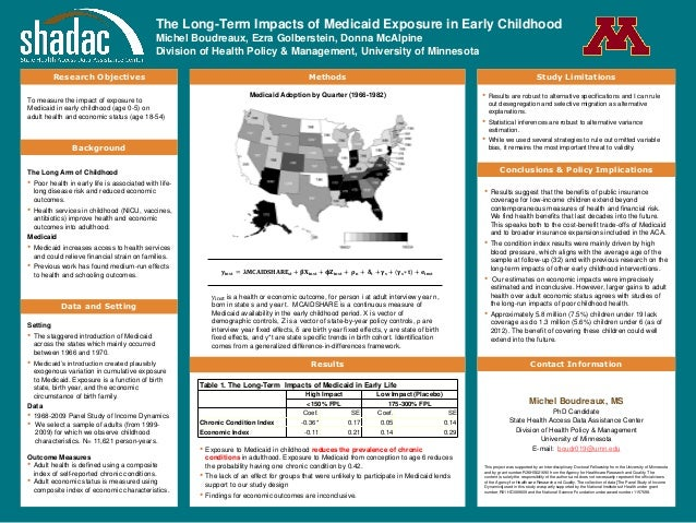 The Long-Term Impacts of Medicaid Exposure in Early Childhood Michel Boudreaux, Ezra Golberstein, Donna McAlpine Division ...