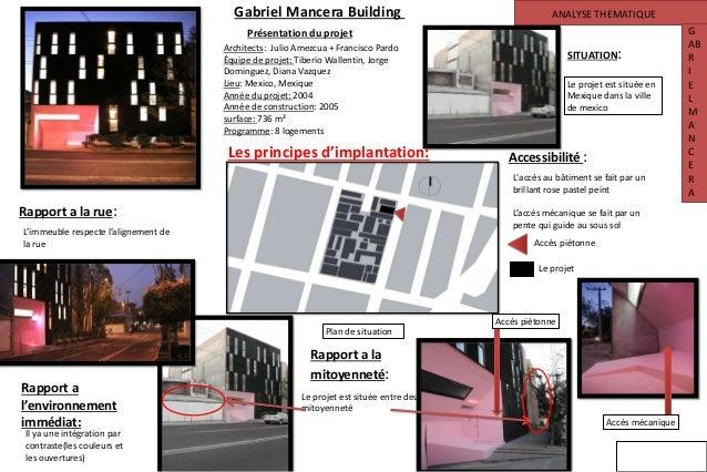 ANALYSE THEMATIQUE G AB R I E L M A N C E R A Gabriel Mancera Building Présentation du projet Les principes d'implantation...