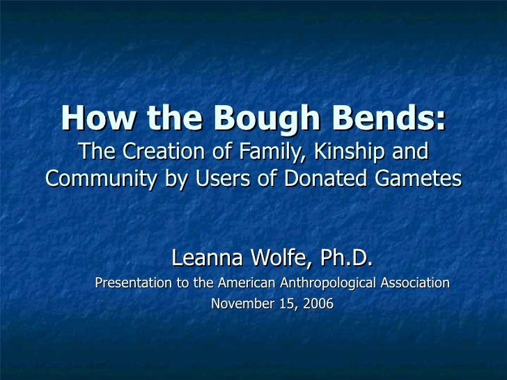 How the Bough Bends: The Creation of Family, Kinship and Community by Users of Donated Gametes Leanna Wolfe, Ph.D. Present...