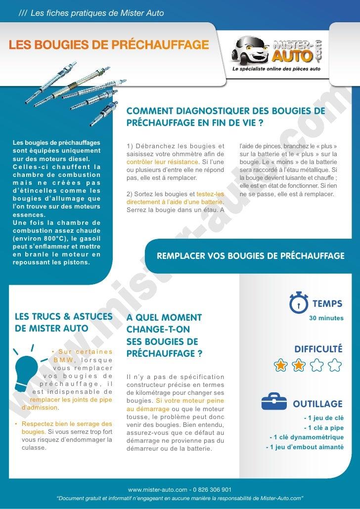 /// Les fiches pratiques de Mister AutoLes bougies de préchauffage                                           Comment diagn...