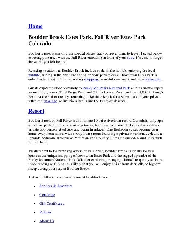 HomeBoulder Brook Estes Park, Fall River Estes ParkColoradoBoulder Brook is one of those special places that you never wan...