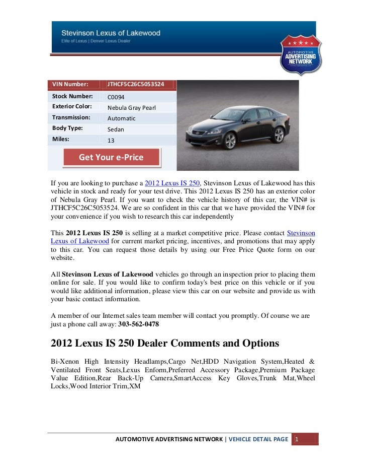 Boulder Lexus IS250