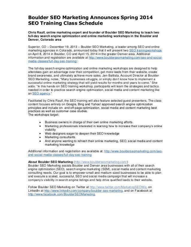 Boulder SEO Marketing Announces Spring 2014 SEO Training Class Schedule