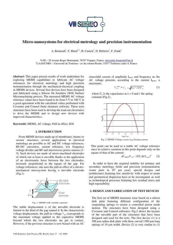 Micro-nanosystems for electrical metrology and precision instrumentation                                        A. Bounouh...