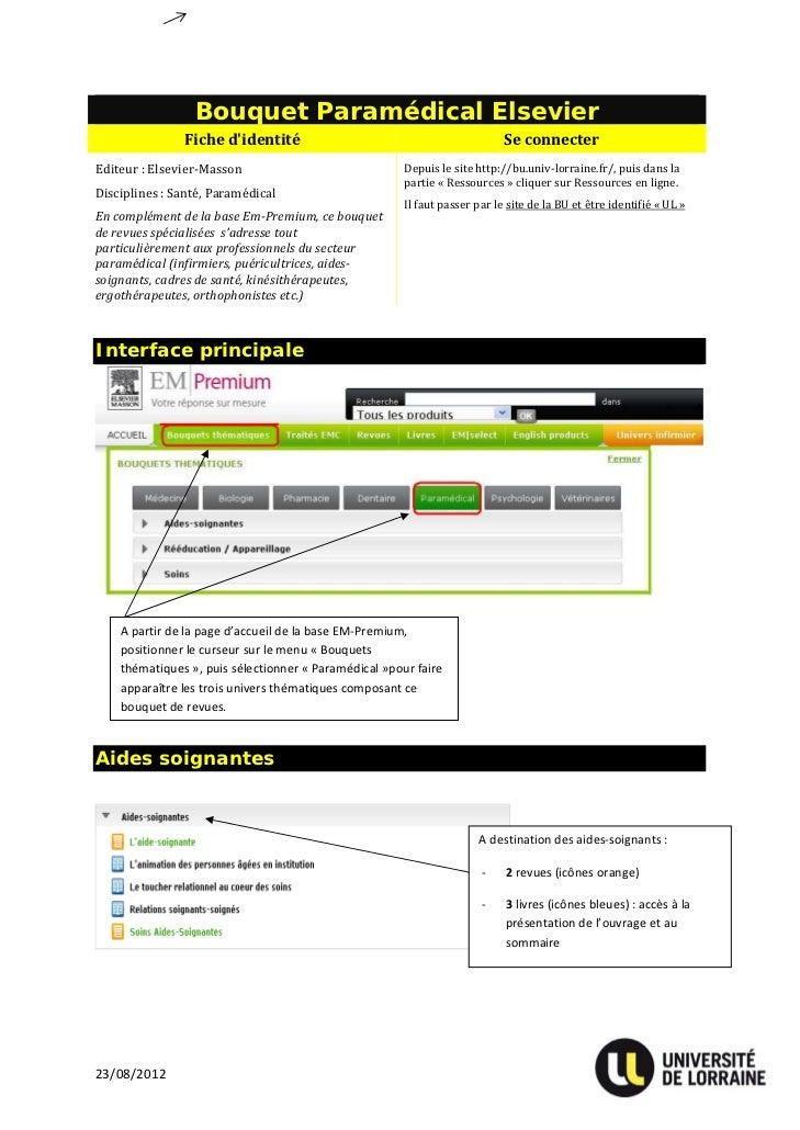 Bouquet Paramédical Elsevier                Fichedidentité                                           SeconnecterEditeu...