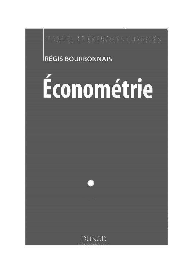 Bourbonnais econométrie partie 1
