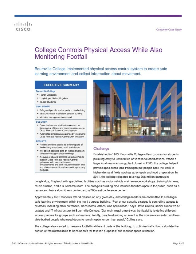 Customer Case Study                        College Controls Physical Access While Also                        Monitoring F...