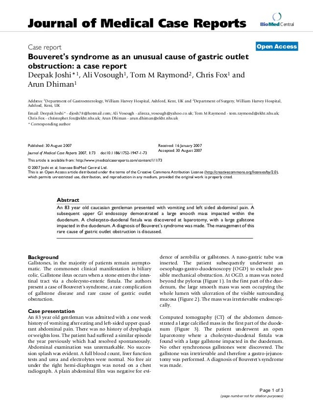 Bouveret's syndrome as an unusual cause of gastric outlet