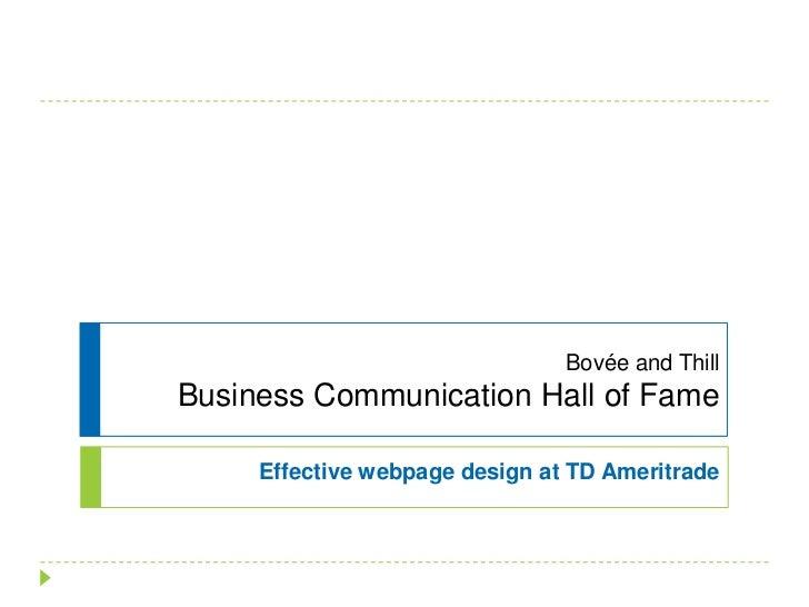 Bovée and ThillBusiness Communication Hall of Fame<br />Effective webpage design at TD Ameritrade<br />