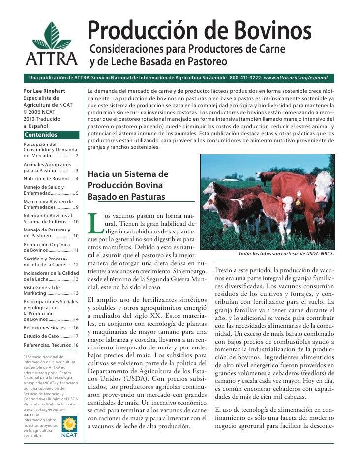 Producción de Bovinos: Consideraciones para Productores de Carne y de Leche Basada en Pastoreo