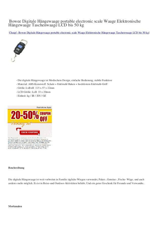 Bowee Digitale Hängewaage portable electronic scale Waage ElektronischeHängewaage Taschenwaage LCD bis 50 kgCheap!- Bowee ...
