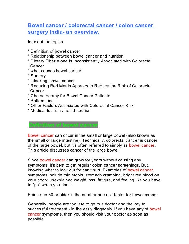 Bowel cancer / colorectal cancer / colon cancer surgery India- an overview.