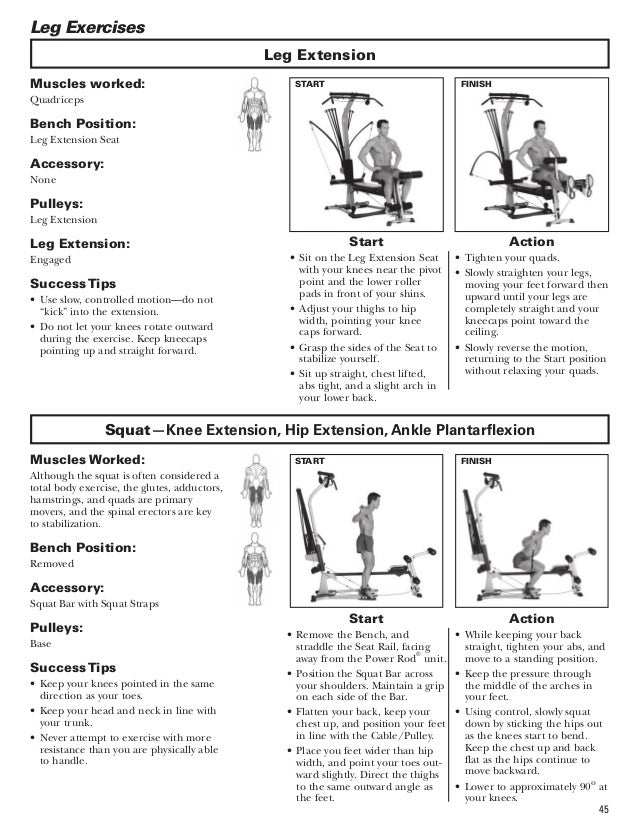 bowflex machine exercises