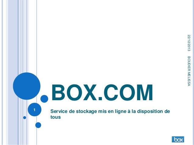 22/12/2013  1  Service de stockage mis en ligne à la disposition de tous  BOUDIER MELISSA  BOX.COM