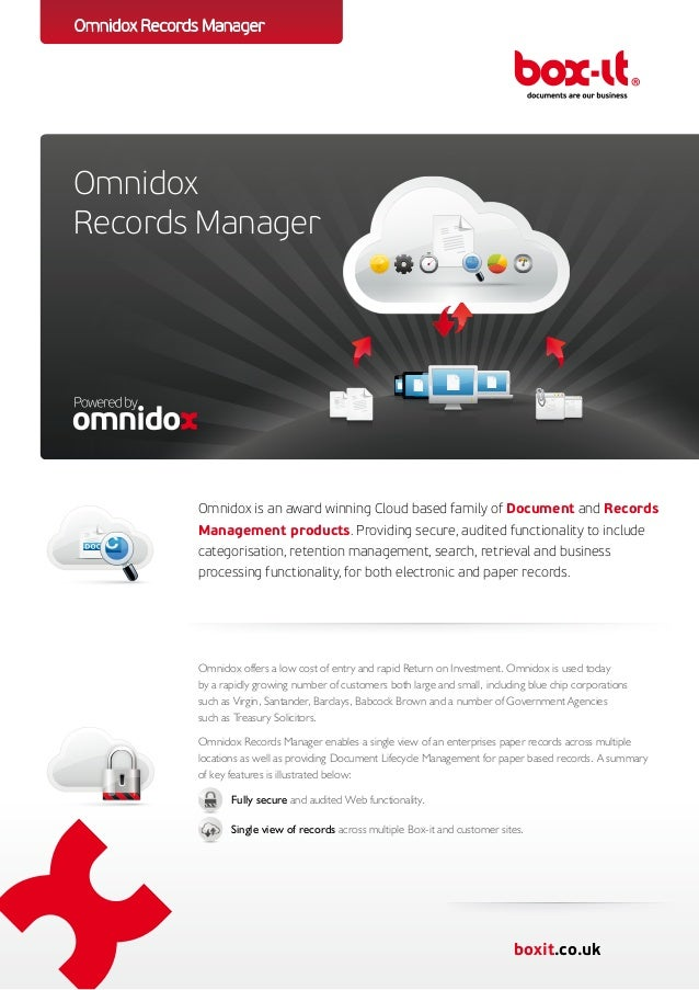 Omnidox Records ManagerOmnidoxRecords Manager              Omnidox is an award winning Cloud based family of Document and ...