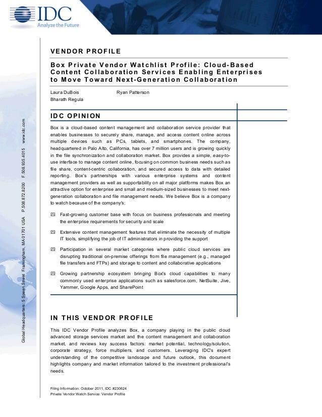 Box Private Vendor Watchlist Profile: Cloud - Based Content Collaboration Services Enabling Enterprises to Move Tow ard Next - Generation Collaboration