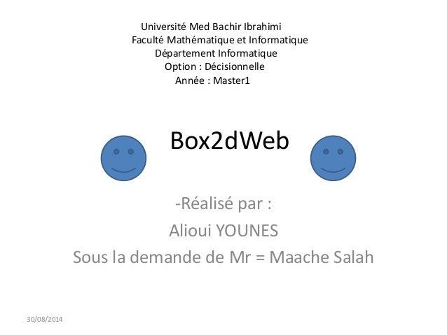 Box2dWeb  -Réalisé par :  Alioui YOUNES  Sous la demande de Mr = Maache Salah  30/08/2014  Université Med Bachir Ibrahimi ...