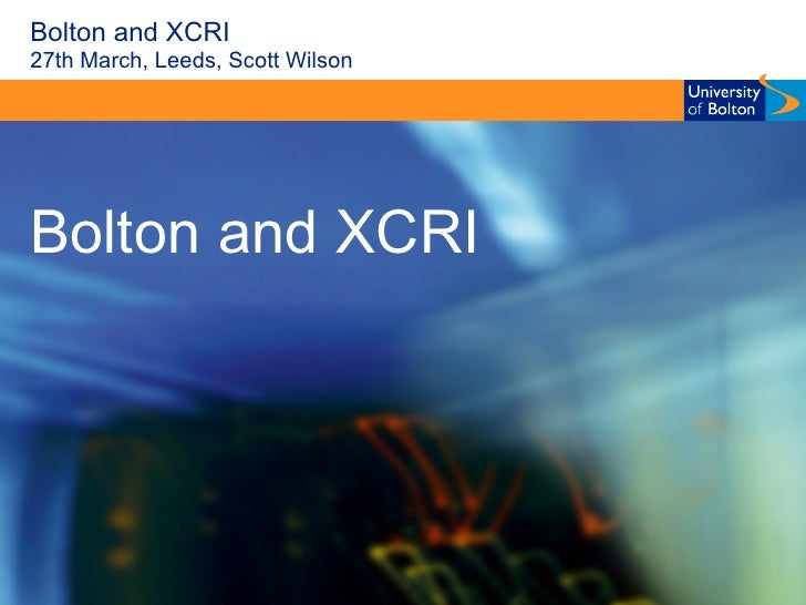 Bolton and XCRI 27th March, Leeds, Scott Wilson Bolton and XCRI