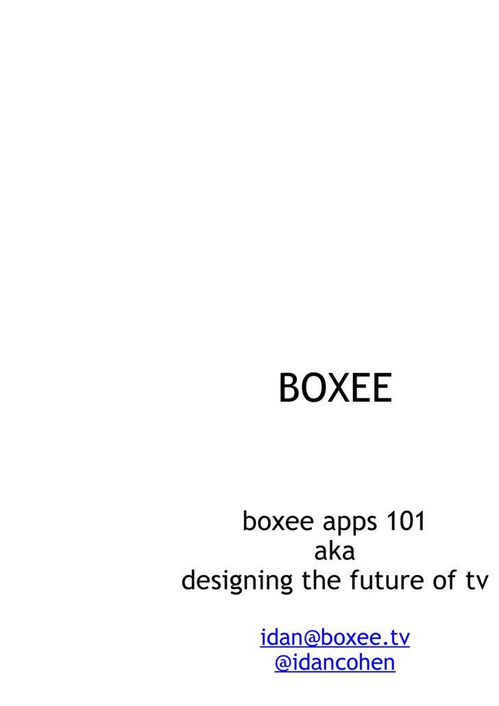 BOXEE apps API