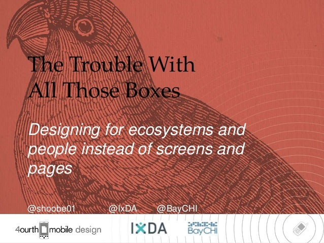The Trouble WithAll Those BoxesDesigning for ecosystems andpeople instead of screens andpages@shoobe01   @IxDA   @BayCHI  ...
