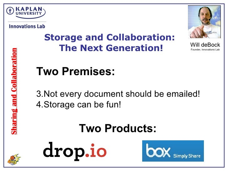 Sharing and Collaboration Storage and Collaboration:  The Next Generation! Will deBock Founder, Innovations Lab <ul><li>Tw...