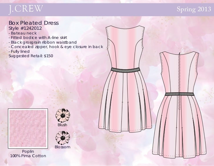 Spring 2013Box Pleated DressStyle #1242012- Bateau neck- Fitted bodice with A-line skirt- Black grosgrain ribbon waistband...