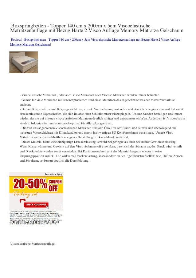 Boxspringbetten - Topper 140 cm x 200cm x 5cm ViscoelastischeMatratzenauflage mit Bezug Härte 2 Visco Auflage Memory Matra...