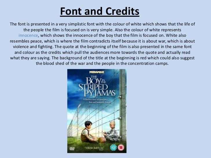 reaction paper essay the boy in the stripe pijamas Night and the boy in the striped pajamas, compare/contrast the two stories that we have studied through literature and film,  young teenage boy,.