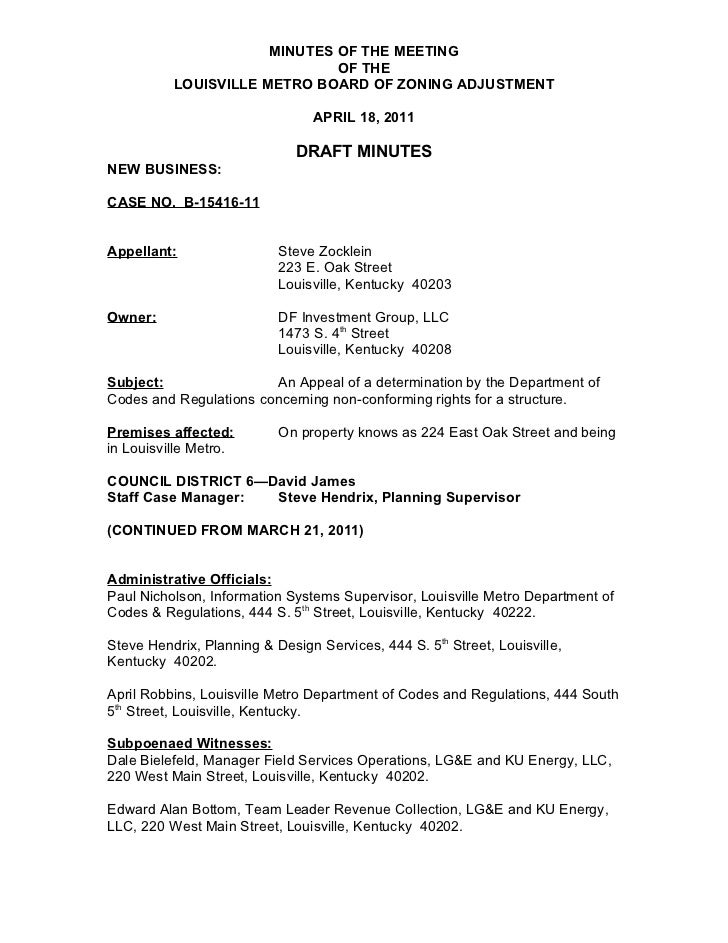 MINUTES OF THE MEETING                              OF THE          LOUISVILLE METRO BOARD OF ZONING ADJUSTMENT           ...