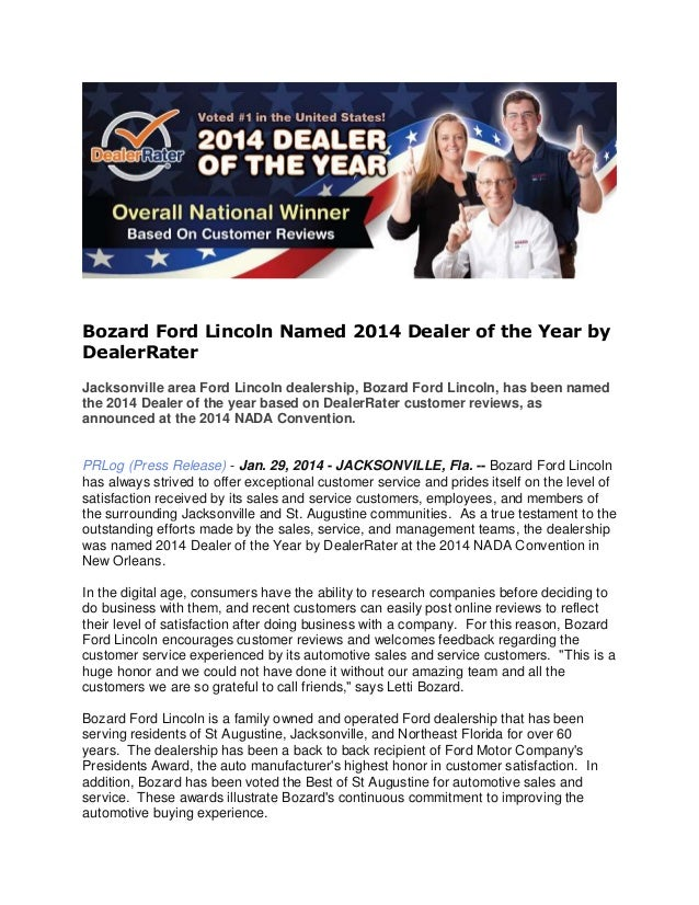 Bozard Ford Lincoln Named 2014 Dealer of the Year by DealerRater Jacksonville area Ford Lincoln dealership, Bozard Ford Li...