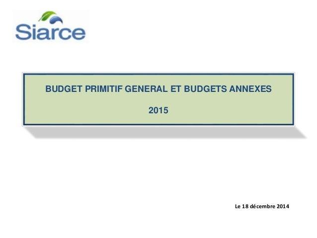 BUDGET PRIMITIF GENERAL ET BUDGETS ANNEXES 2015 Le 18 décembre 2014