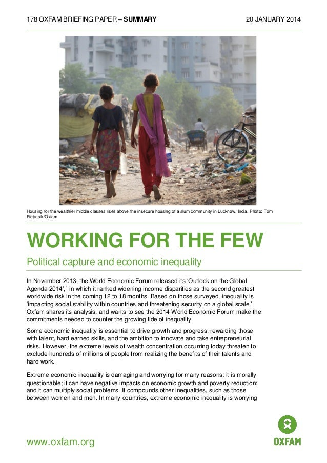 Working For the Few - Political Capture and Economic Inequality