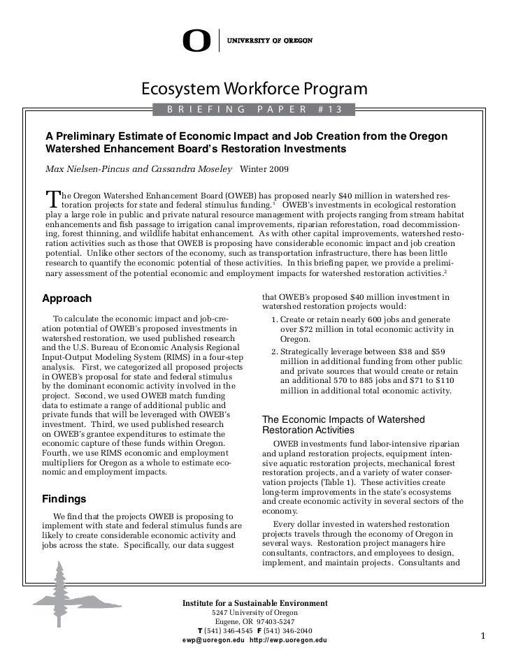 Ecosystem Workforce Program                                 B R I E F I N G          P a per            # 13 A Preliminary...