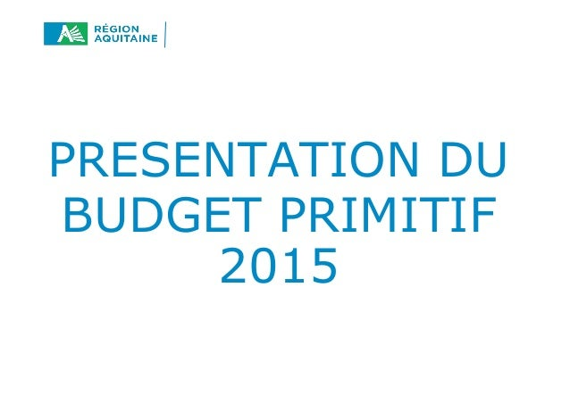 PRESENTATION DU  BUDGET PRIMITIF  2015