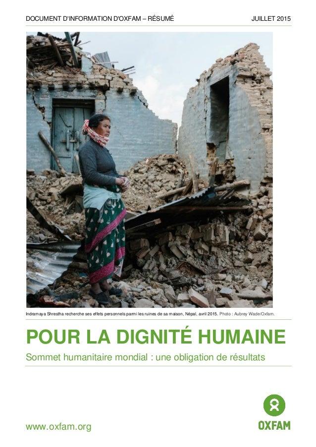 DOCUMENT D'INFORMATION D'OXFAM – RÉSUMÉ JUILLET 2015 www.oxfam.org Indramaya Shrestha recherche ses effets personnels parm...