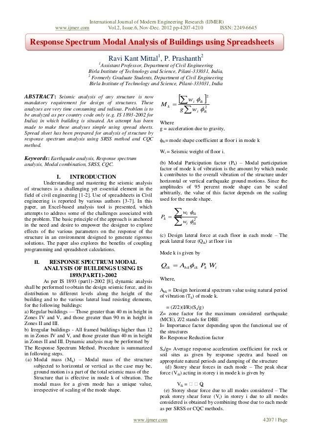 Response Spectrum Modal Analysis of Buildings using Spreadsheets