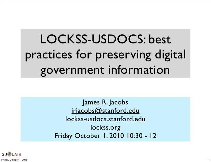 LOCKSS-USDOCS: best practices for preserving digital government information