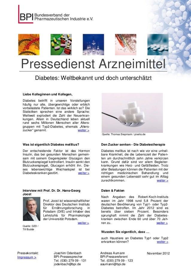 Pressedienst Arzneimittel             Diabetes: Weltbekannt und doch unterschätzt   Liebe Kolleginnen und Kollegen,   Diab...