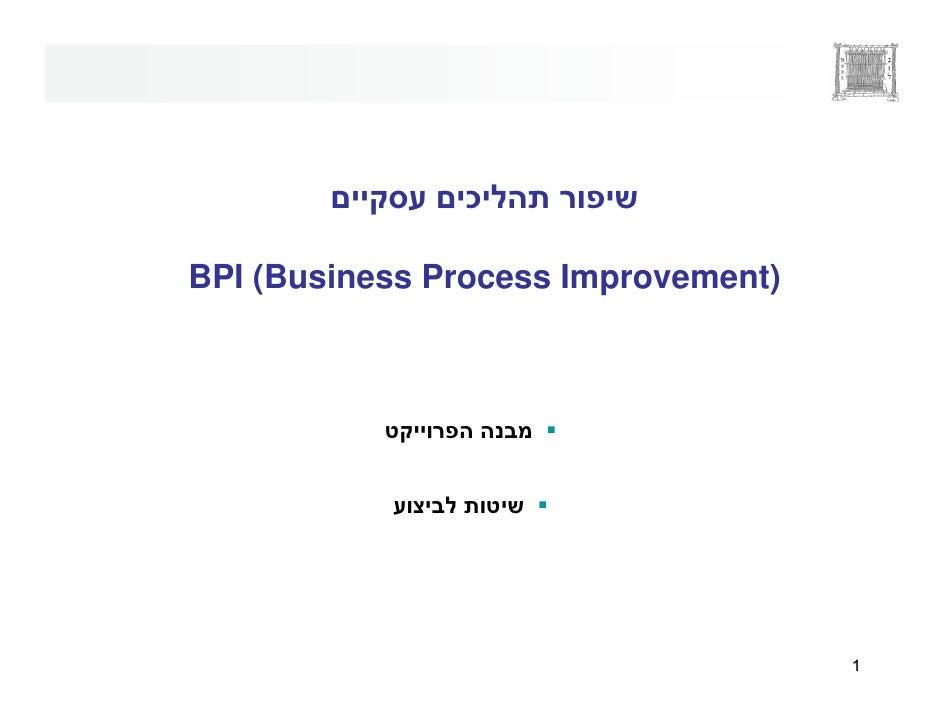 ¯  BPI (Business Process Improvement)                                          1