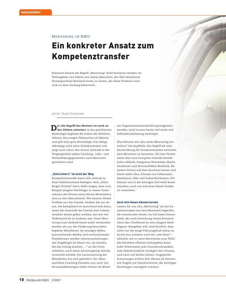 MANAGEMENT                         Mentoring in KMU                       Ein konkreter Ansatz zum                     Kom...
