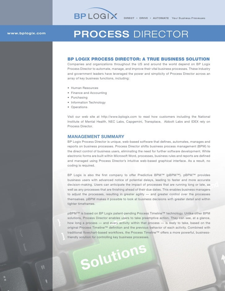 www.bplogix.com                       PROCESS DIRECTOR                  BP LOGIX PROCESS DIRECTOR: A TRUE BUSINESS SOLUTIO...