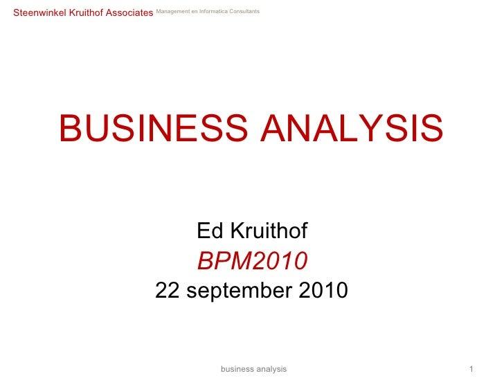 Business analysis: ontwikkeling, toepassing, ervaringen