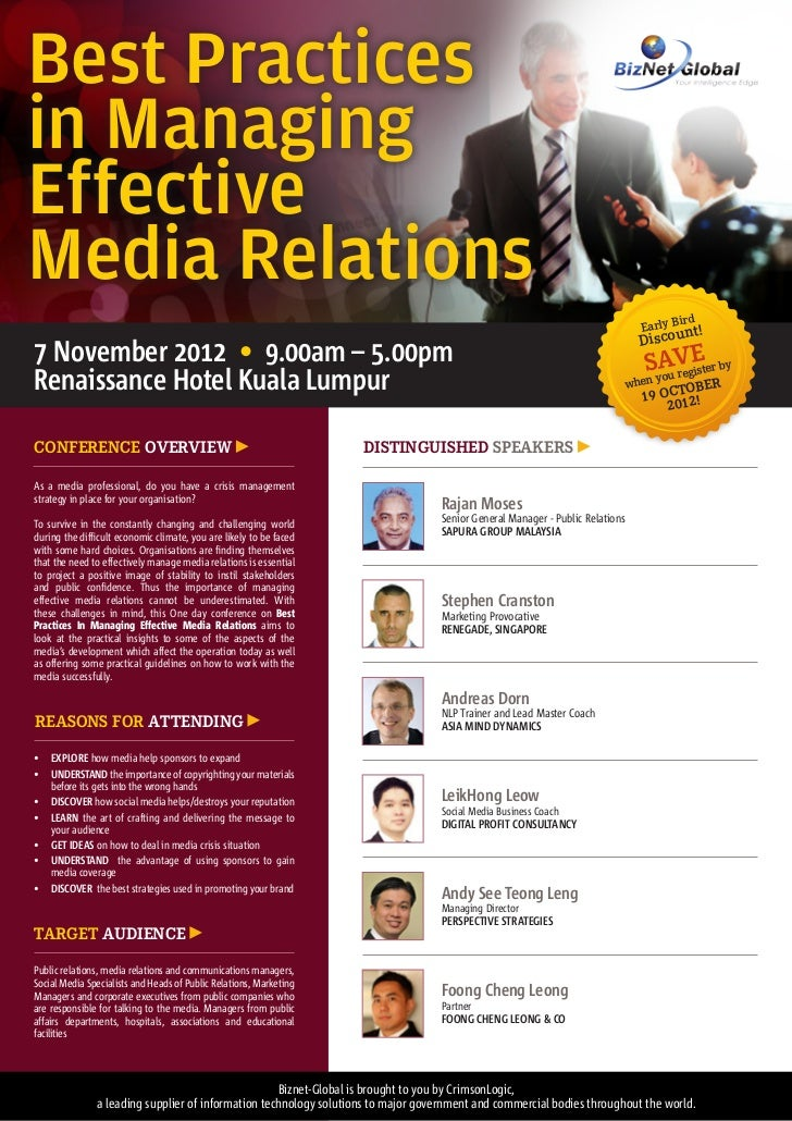 Best Practices in Managing Effective Media Relations Conference