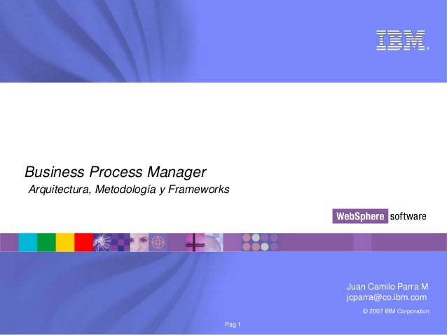 © 2007 IBM Corporation®Pág 1Business Process ManagerArquitectura, Metodología y FrameworksJuan Camilo Parra Mjcparra@co.ib...